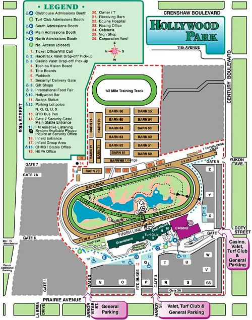 An overhead map of Hollywood Park